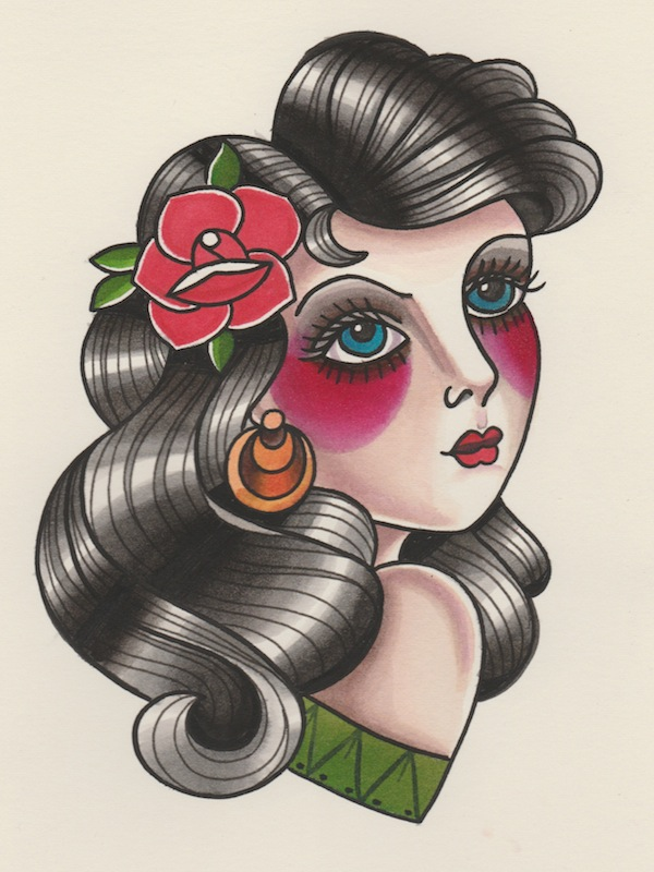 How To Draw A Vintage Pin Up Portrait Tattoo Illustration