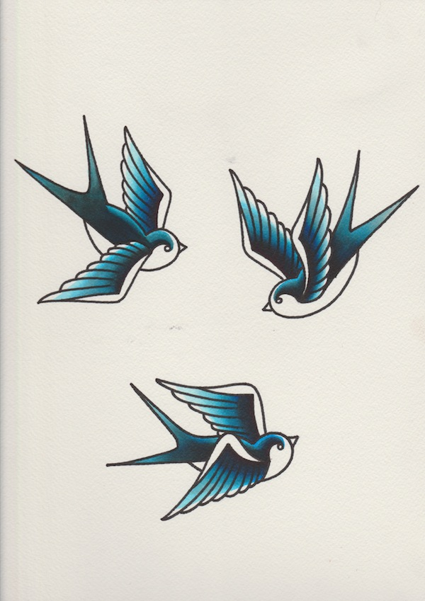 Swallows with blue watercolour ink overlay added