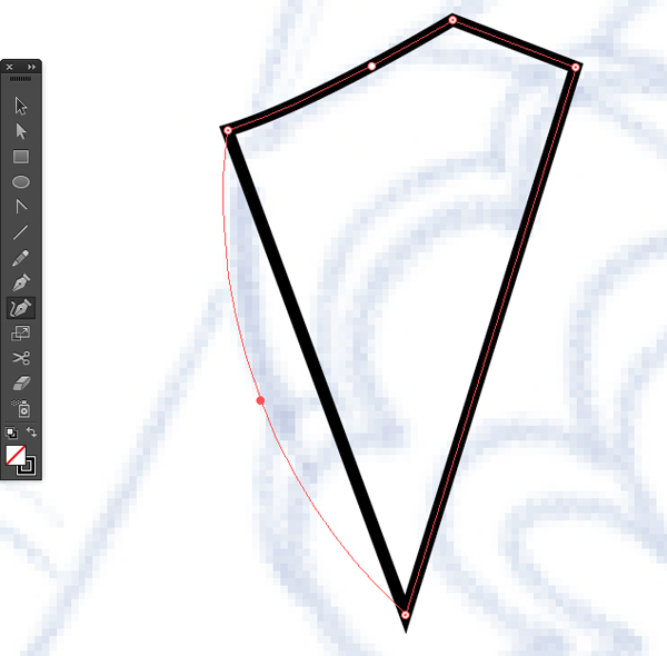 selection tool and curvature tool to convert straight path to smooth curve on illustrator cc 2014 release