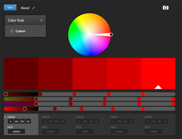 Adobe Color CC color scheme generator hot reds blood red