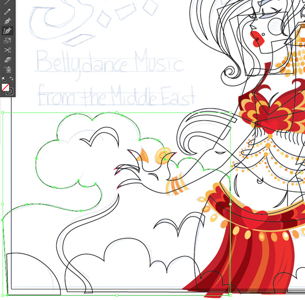 artwork tracing drawing pen tool curcature tool and ellipse tool bellydance cover art