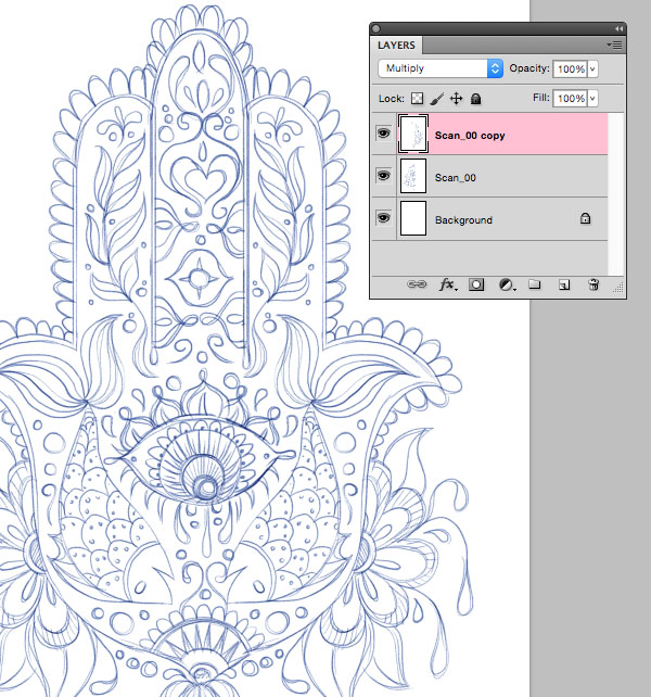 Hand of Mariam Fatima  Hand Khamsa Hamesh sketch illustration miss chatz artwork pen blue fish hand palm eye flower pattern heart design tshirt scan copy background mirror horizontal photoshop
