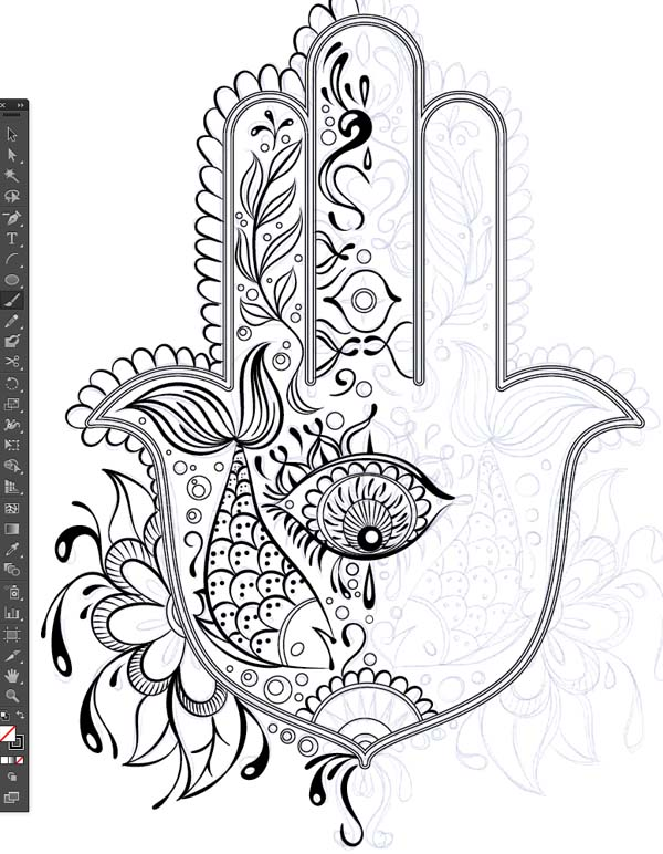 half pattern design sketch paintbrush tool brushes Hand of Mariam Fatima  Hand Khamsa Hamesh sketch illustration miss chatz artwork pen blue fish hand palm eye flower pattern heart design tshirt photoshop sketch half pattern