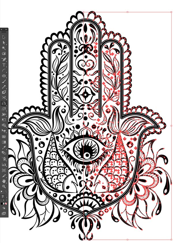 mirrror pattern design reflect tool select all Hand of Mariam Fatima  Hand Khamsa Hamesh sketch illustration miss chatz artwork pen blue fish hand palm eye flower pattern heart design tshirt photoshop sketch half pattern