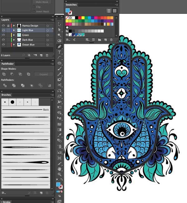 paintbrush pen tool fill color layers Hand of Mariam Fatima  Hand Khamsa Hamesh sketch illustration miss chatz artwork pen blue fish hand palm eye flower pattern heart design tshirt photoshop sketch half pattern