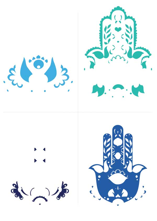four color layering sepeartaion design 5 piece print screen Hand of Mariam Fatima  Hand Khamsa Hamesh sketch illustration miss chatz artwork pen blue fish hand palm eye flower pattern heart design tshirt photoshop sketch half pattern