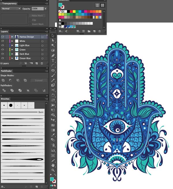 patterns color variation strokes layers design Hand of Mariam Fatima  Hand Khamsa Hamesh sketch illustration miss chatz artwork pen blue fish hand palm eye flower pattern heart design tshirt photoshop sketch half pattern