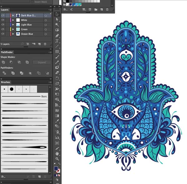 final piece layers 4 color sepearations design Hand of Mariam Fatima  Hand Khamsa Hamesh sketch illustration miss chatz artwork pen blue fish hand palm eye flower pattern heart design tshirt photoshop sketch half pattern