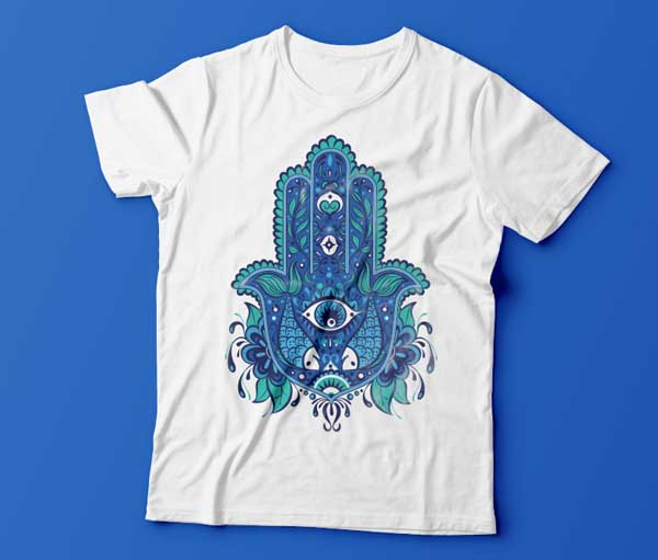 tshirt final mockup print design Hand of Mariam Fatima  Hand Khamsa Hamesh sketch illustration miss chatz artwork pen blue fish hand palm eye flower pattern heart design tshirt photoshop sketch half pattern