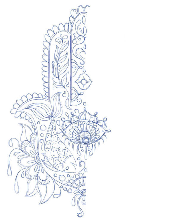 Hand of Mariam Fatima  Hand Khamsa Hamesh sketch illustration miss chatz artwork pen blue fish hand palm eye flower pattern heart design tshirt photoshop sketch half pattern