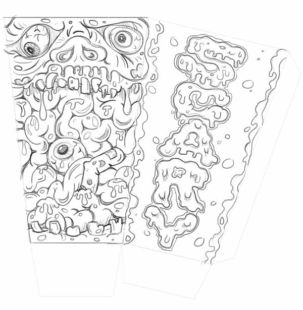 popcorn box template sketch