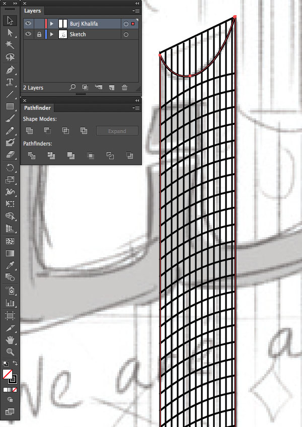 copy paste front back Duplicate Rectangle Selection UAE National Day Poster Sketch Burj Khalifa Sketch Layers