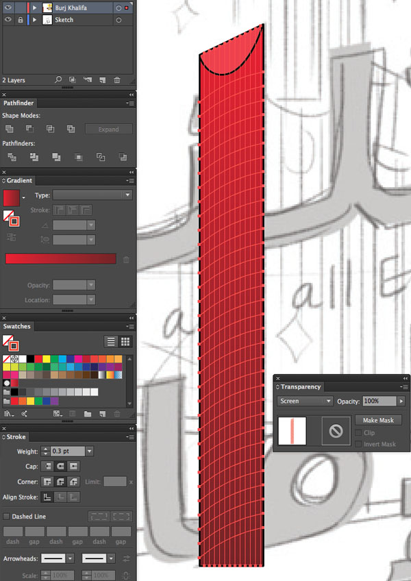 Window transparency Arrange Bring to Front Command Shift Linear angle Stroke Gradient Blending Mode Stroke Color copy paste front back Duplicate Rectangle Selection UAE National Day Poster Sketch Burj Khalifa Sketch Layers