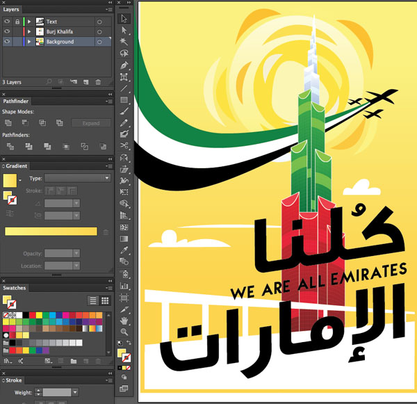 Window transparency Arrange Bring to Front Command Shift Linear angle Stroke Gradient Blending Mode Stroke Color copy paste front back Duplicate Rectangle Selection UAE National Day Poster Sketch Burj Khalifa Sketch Layer colro Flag palette shapes form