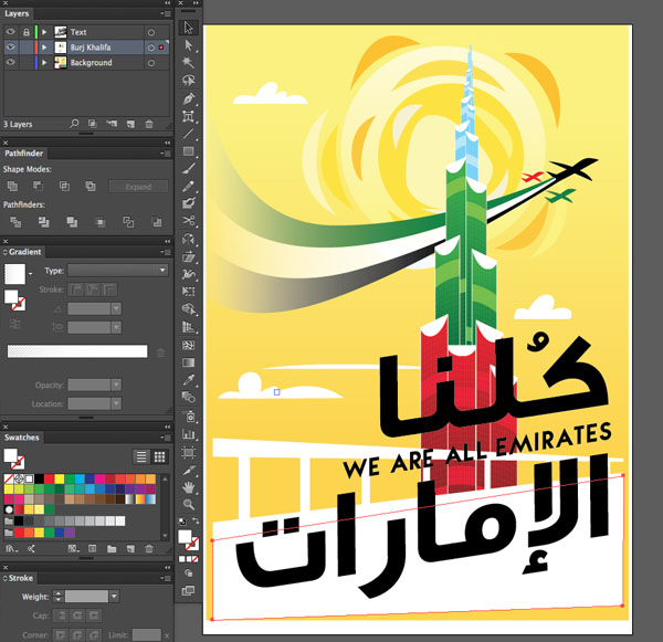 Swatch color palette feel Design illustration sky blue tone Window transparency Arrange Bring to Front Command Shift Linear angle Stroke Gradient Blending Mode Stroke Color copy paste front back Duplicate Rectangle Selection UAE National Day Poster Sketch Burj Khalifa Sketch Layer