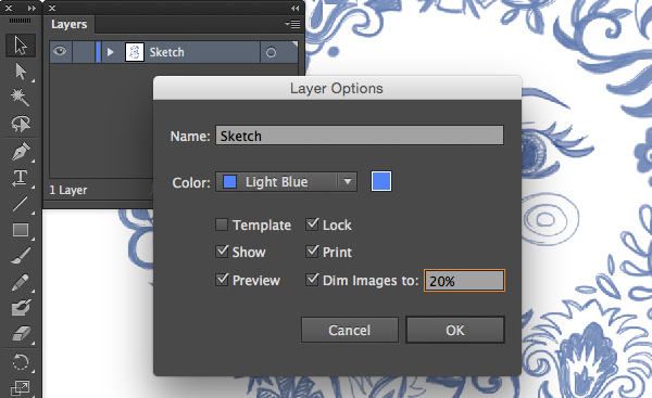 layer options panel lock dim percentage layer sketch adobe illustrator