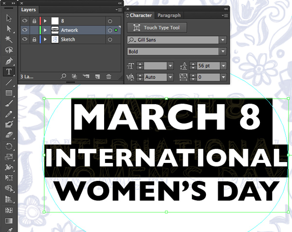 text set leading march 8 international womens day character window command T adobe illustrator