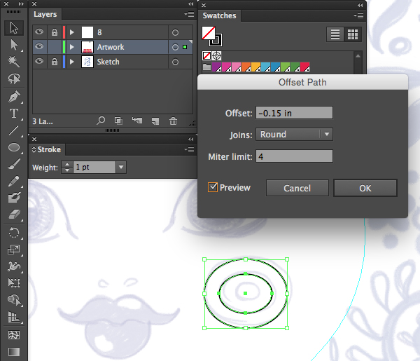 ellipse offset path inner circles round joins preview limit inches adobe illustrator