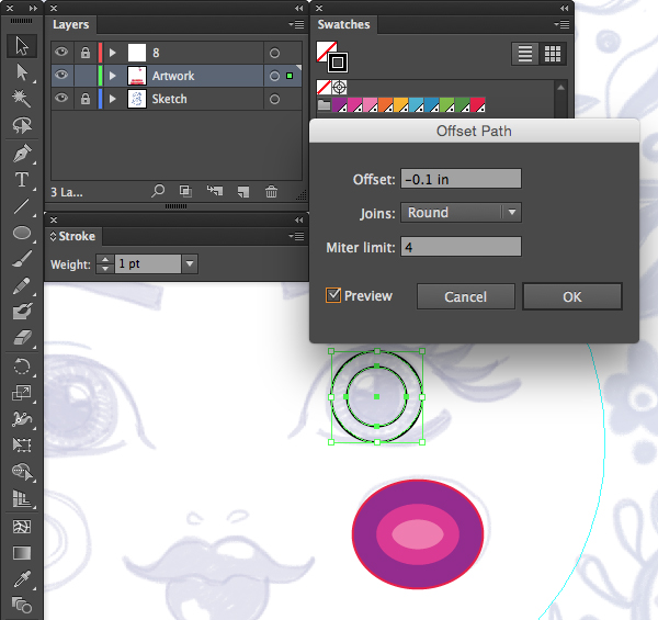 object path offset path circle ellipse tool inches round joins preview adobe illustrator