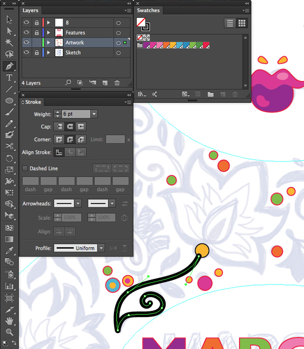 adobe illustrator stroke panel options round cap corners join pen tool P points artwork