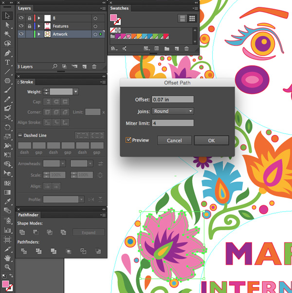 adobe illustrator offset paths create variation floral artwork