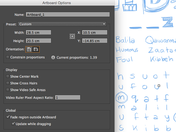 Adobe Illustrator artboard setup custom centimeter landscape orientation