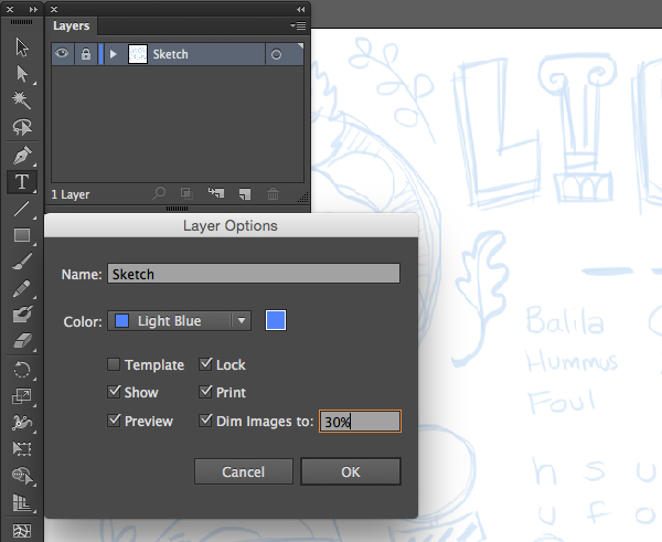 adobe illustrator layer panel sketch submenu dim images print lock show preview
