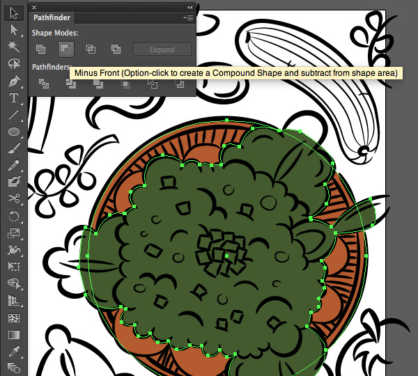 adobe illustrator trace pen tool ellipse tool color minus front pathfinder panel selection