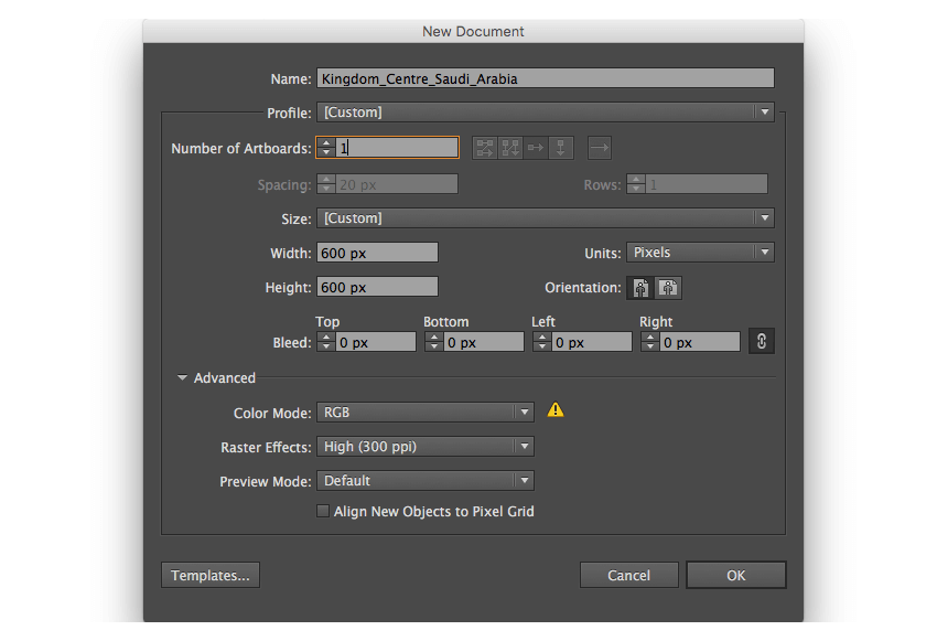 adobe illustrator new documnet set up dimensions 600 px pixels rgb highppi