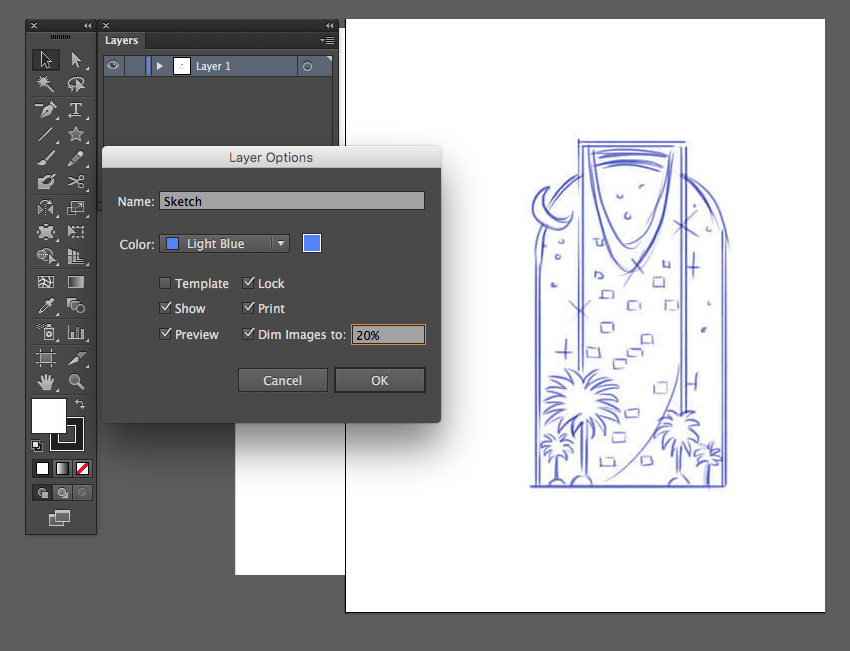 adobe illustrator new layer options sketch lock dim images