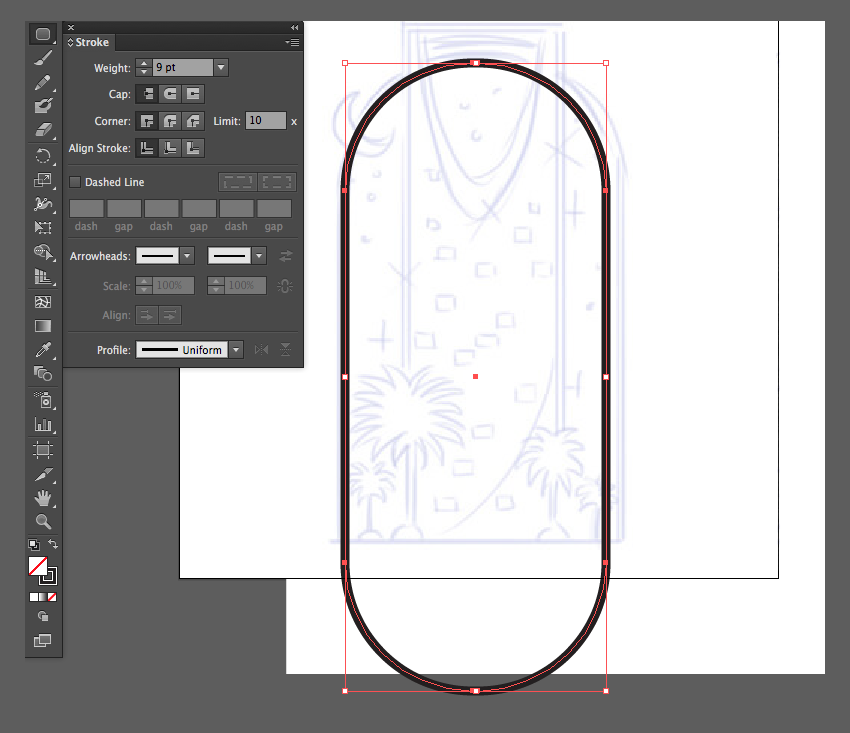 adobe illustrator rounded rectangle tool up arrow down 9pt stroke no fill icon linework