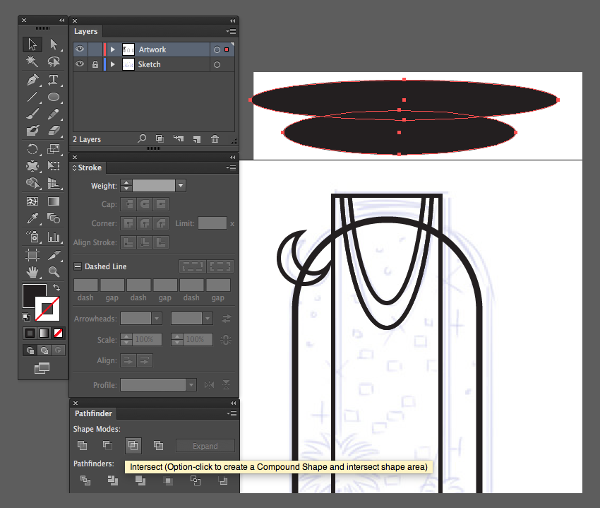 adobe illustrator ellipse tool L intersect pathfinder option artbrush
