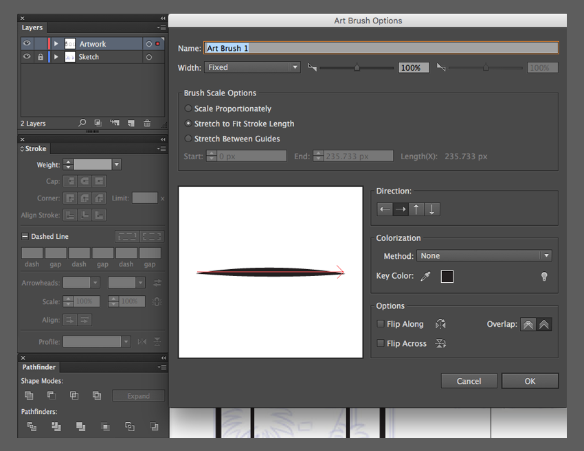 adobe illustrator create custom artbrush ok art brush option stretch to fit stroke length fixed width