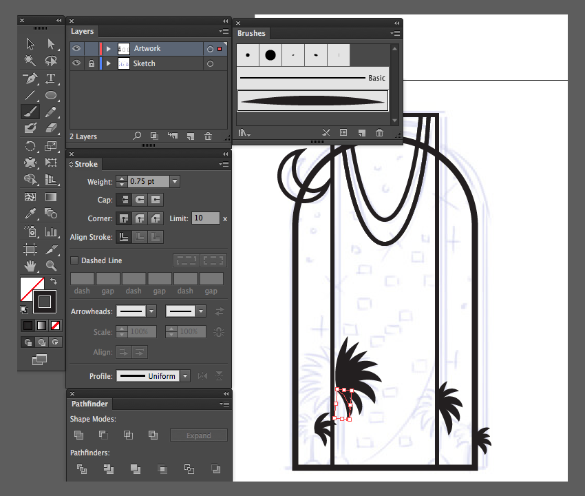 adobe illustrator paintbrush tool custom artbrush palm trees kingdom center