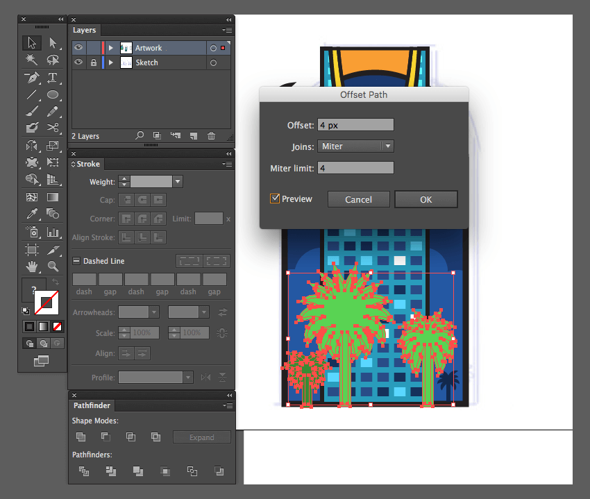 adobe illustrator object path offset palm trees icon kingdom centre preview joins miter limit