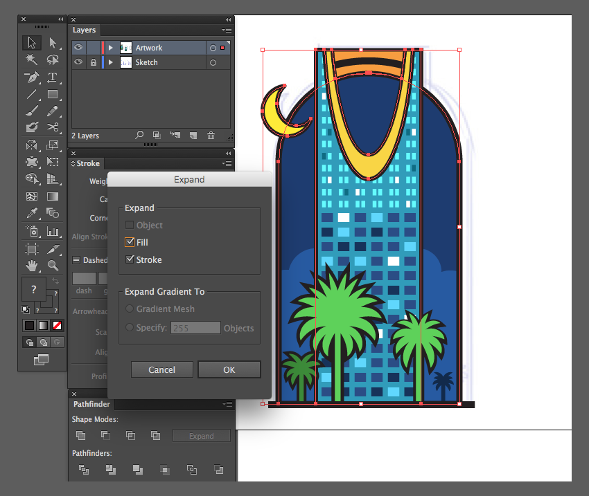 adobe illustrator object expand strokes illustration kingdom centre