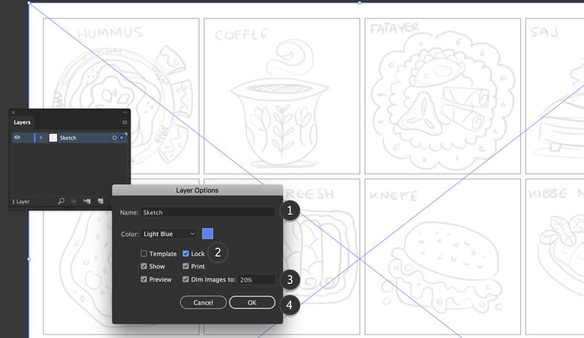 Adobe Illustrator layer options
