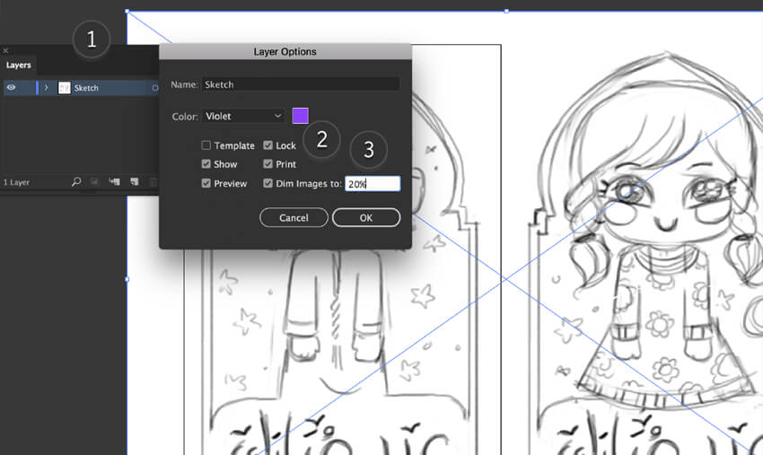 illustrator layers lock sketch dim images