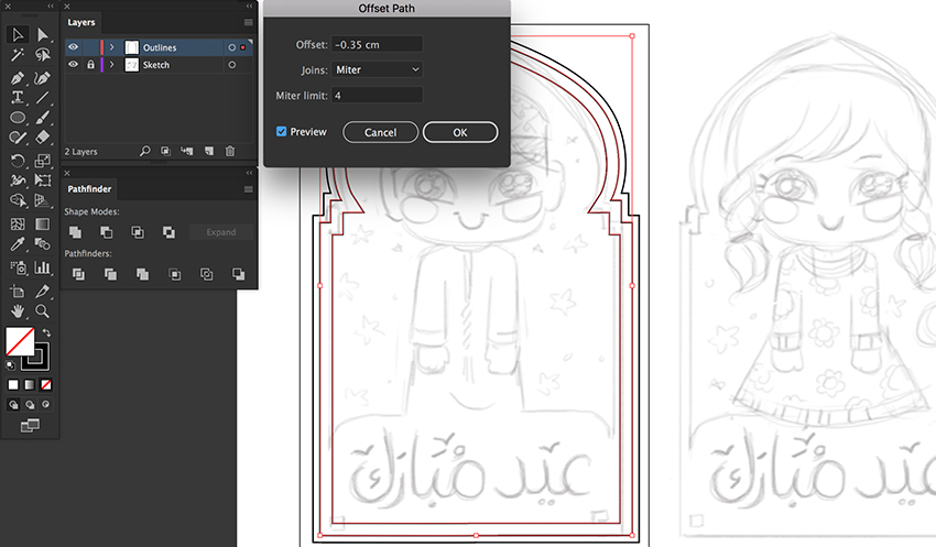 Path Offset border illustrator