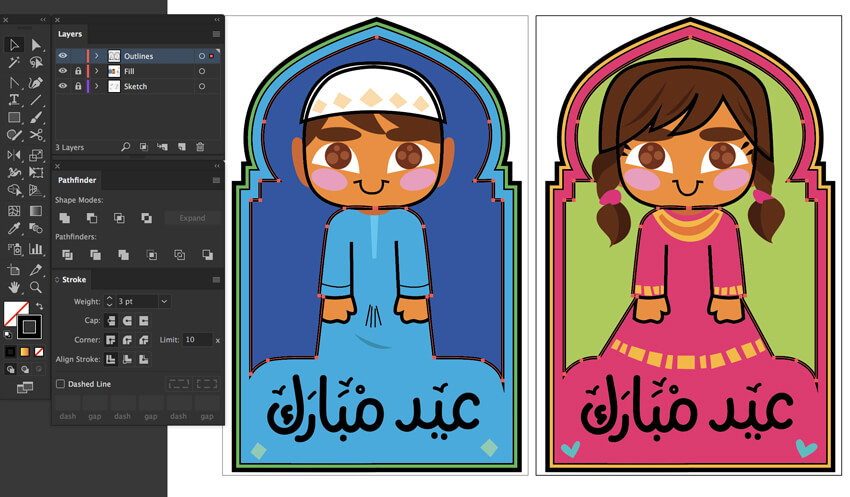 stroke panel variation color linework eid