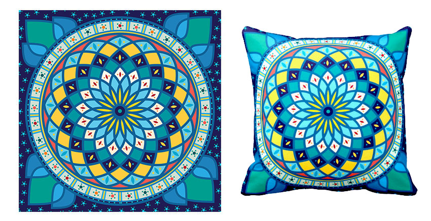 final tunisian motif pattern pillow cushion design
