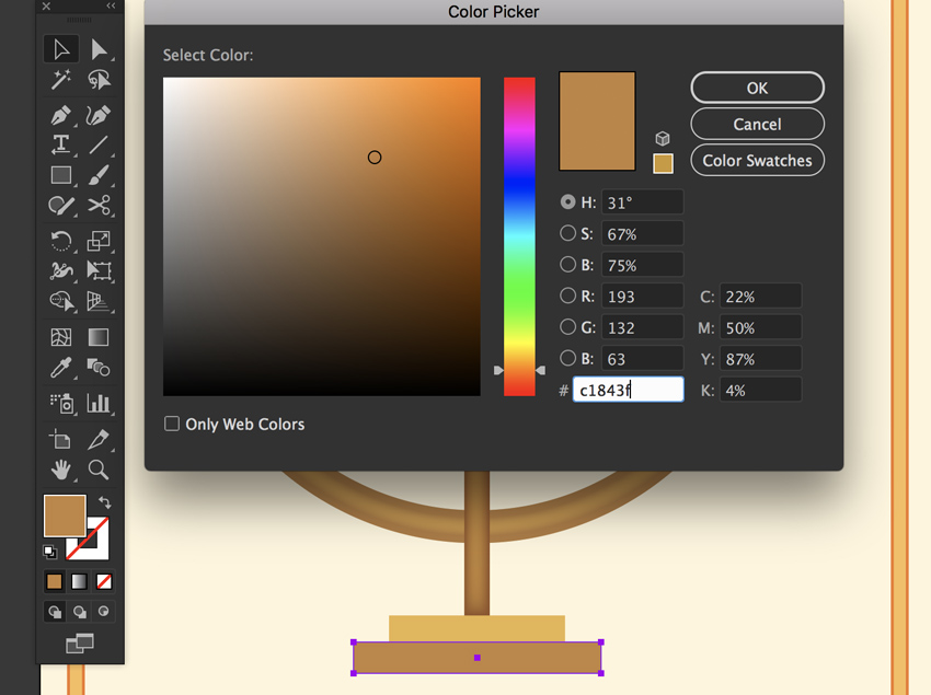 Create base with rectangle Tool set hex color
