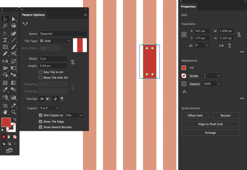 pattern make options swatches panel  diagonal grid width height copies