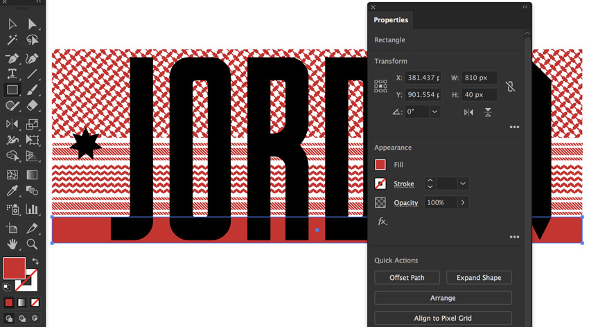 rectangle tool create 810 x 40 px red rectangle
