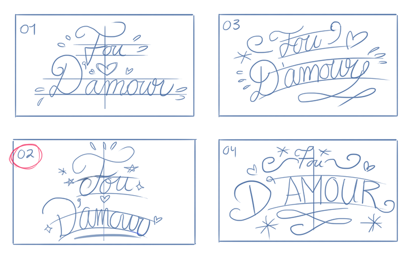natural cursive hand ettering sketch  thumbnails curves composition
