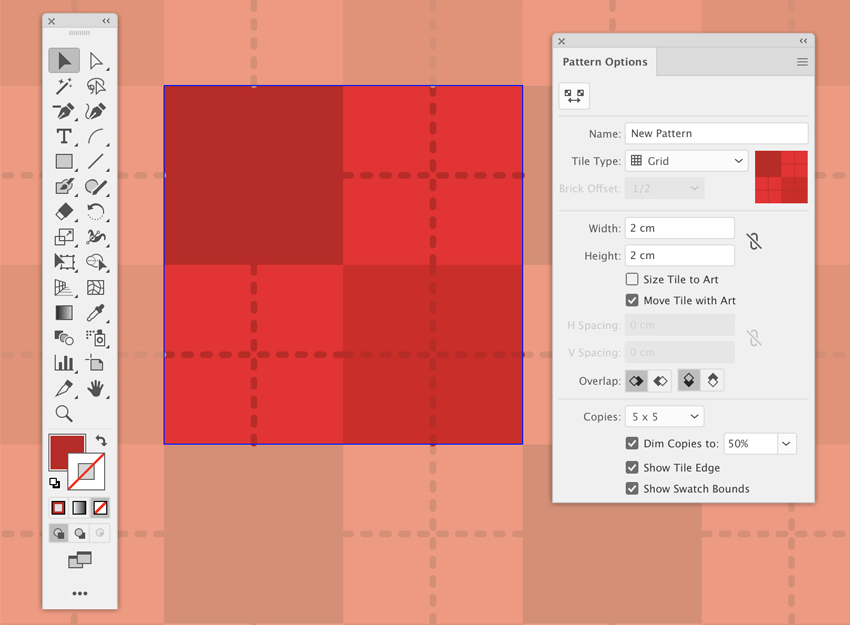object pattern making swatches panel grid type checkered