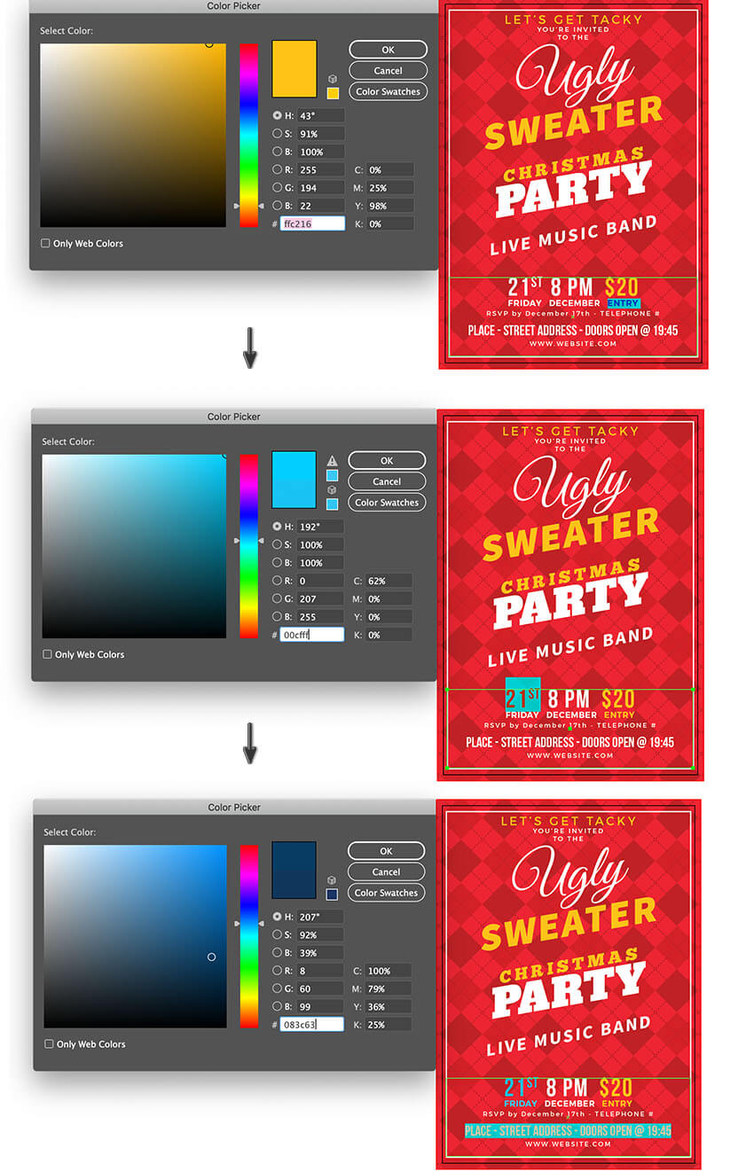 type tool selection apply color fill individually