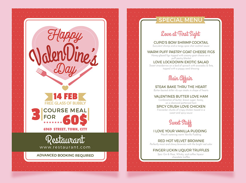 How To Make A Valentine S Dinner Restaurant Menu Flyer Template