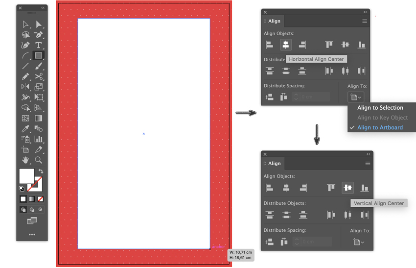 Create rectangle tool align to Artboard horizontal Vertical align to Artboard template flyer