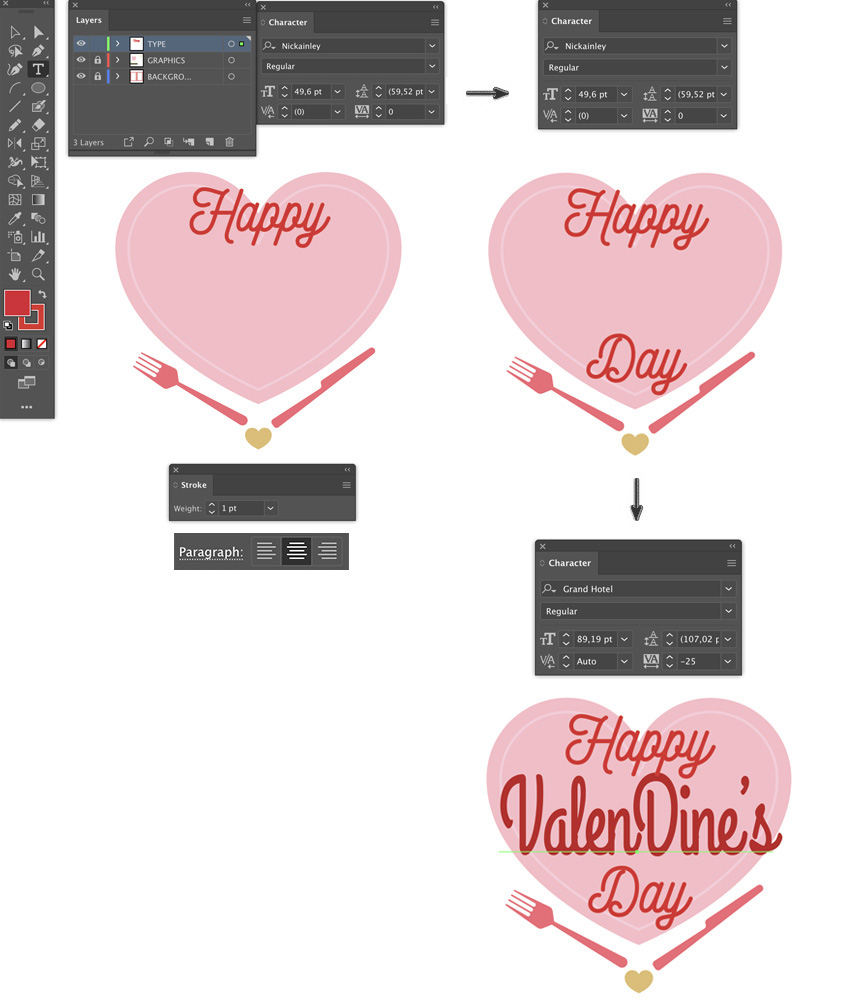 Add font type set leading font size kerning happy valentines day flyer lyer templates flyer design how to make a flyer event flyer menu template